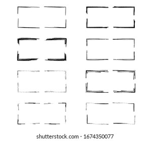 Set of black rectangle grunge frames. Geometric empty borders collection. Vector illustration.