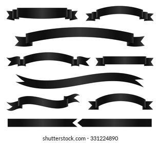 Set of black ribbon banners. Vector illustration.