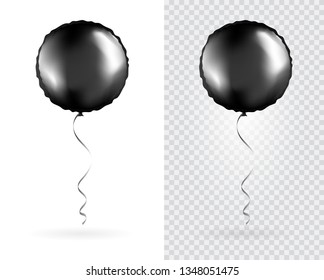 Set of Black Round shaped foil balloons on transparent white background. Party Balloons event design decoration. Mockup for balloon print. Vector.