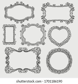 set of black round and square vintage frames, design elements