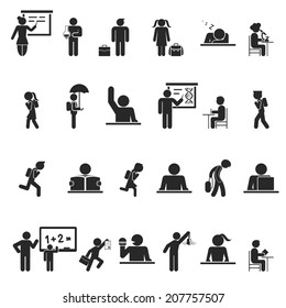 Set of black school children silhouette icons showing a wide variety of activities both inside and outside the classroom conceptual of secondary education