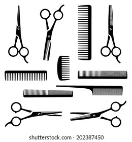 Set of black scissors and combs on white background for Hairdresser's salon