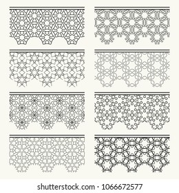 Set of black seamless borders, line patterns. Tribal ethnic arabic, indian decorative ornaments, fashion lace collection. Isolated design elements for headline, banners, wedding invitation cards