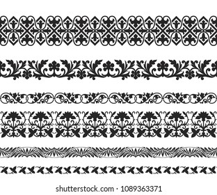 Set of black seamless classic floral ornaments. Byzantine, Arabic, Muslin, East style. Pattern brushes are included.