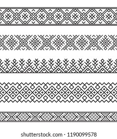Set of black seamless Slavic ethnic borders. Pattern brushes are included.