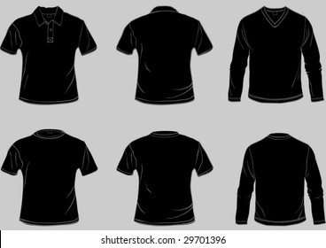 Set of black shirt templates with front and back in separate easily editable layers