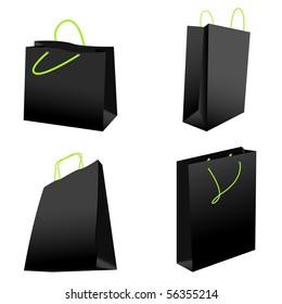 set of black shopping bags. vector illustration