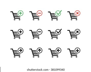 Set of black shopping carts icons with add, delete and move signs on white