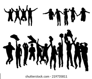 set black silhouette against a white background children jump vector