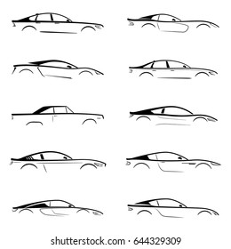 Set of a black silhouette car on white background. Vector illustration.