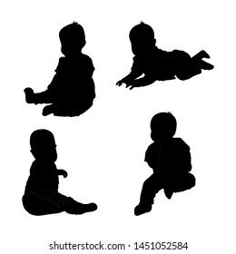 Set of black silhouette of child baby boy on white background. Collection various pose. sits, plays, lying. Elements for design, children s store,. Vector illustration. Isolated