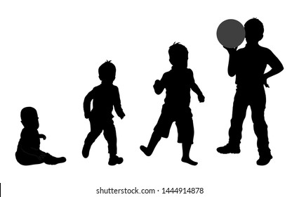 Set of black silhouette of child with ball, baby boy on white background. Collection various pose, dfferent age. Sitting, plays, stand. Element for design, children store, shop, advertising. Vector