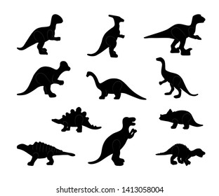 Set of black silhouette of dinosaurs on white background. Collection various forms, pose, type. Stand, sits, walks. Elements for design, print. Vector illustration