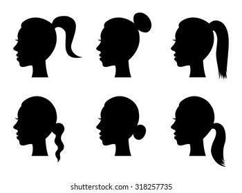 Set of black silhouette girl head with different hairstyle: tail, ponytail, bun. Young women face in profile with long hair, cartoon design. vector art image illustration, isolated on white background