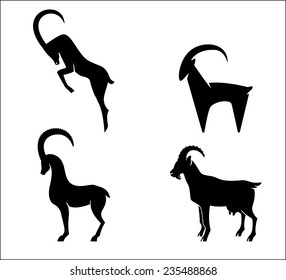 Set of black silhouette Goats icon isolated on white background. Vector illustration. New 2015