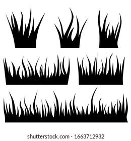 Set of black silhouette grass on a white background. Flat design. Vector illustration