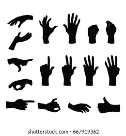 Set of black silhouette hands in different gestures emotions and signs on white background. Vector illustration