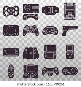 Set of black silhouette icons on transparent background: vintage and modern gaming console, handheld pocket videoconsole, gamepad, joystick, light gun, mobile phone controller. Gadgets for gamers.