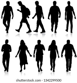 Set Black silhouette man and woman standing, people on white background
