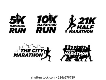 set of black silhouette marathon run event logo template with running people illustration, 5K, 10K, 21K half marathon vector eps 10