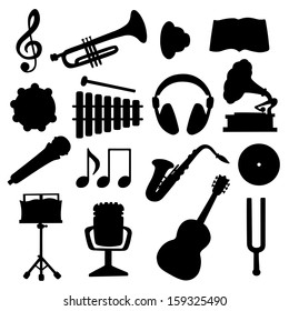 Set black silhouette music icons - vector