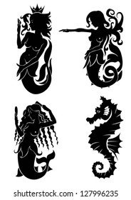 Set of black silhouette on mermaid and sea horse