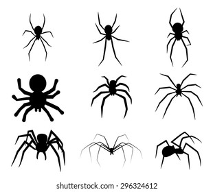 Set of black silhouette spider icon isolated on white background. Top,side and front view