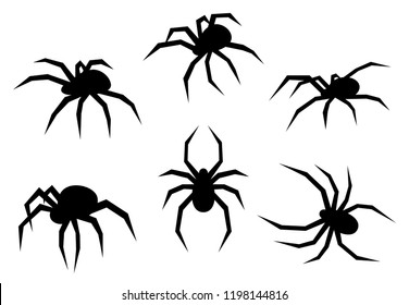 Set of black silhouette spiders. Insects isolated on white background. Flat vector illustration