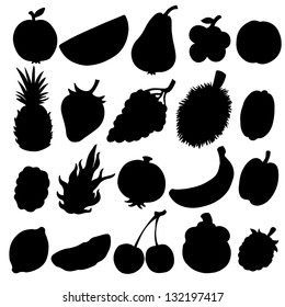 Set black silhouette various fruits on a white background. Abstract design logo. Logotype art - vector