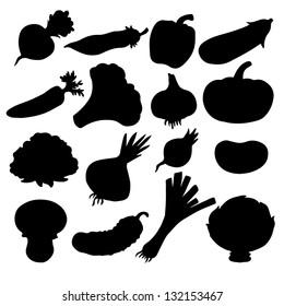 Set black silhouette various vegetables on a white background. Abstract design logo. Logotype art - vector