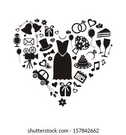 Set of black silhouette wedding icons inside a heart shape