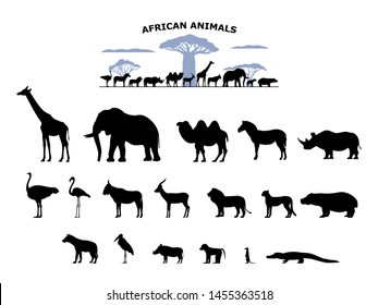 Set of black silhouette wild african animals on an isolated white background. Collection of various animals of Africa. Vector illustration group of logo icons, side view.