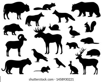 Set of black silhouette wild forest steppe animals. Vector illustration isolated on white, side view profile. Collection woodland animals.