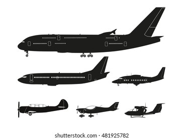 Set of black silhouettes of aircraft on a white background . Collection isolated images. Vector illustration