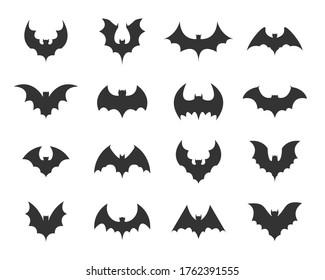 Set of black silhouettes of bats. Vector illustration