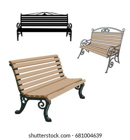 Set of black silhouettes Bench on a white background