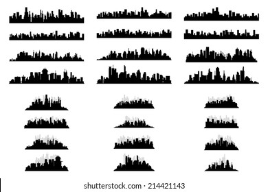 a set of black silhouettes of cityscapes on a white background
