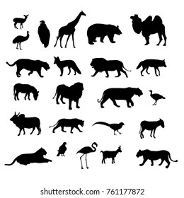 Set of black silhouettes of different animals and birds of vector illustration