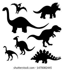 Set of black silhouettes of dinosaurs on a white background, stegosaurus, Triceratops, Tyrannosaurus, Brontosaurus, pterodactyl and others