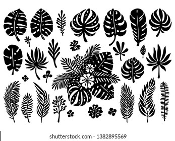 Set of black silhouettes, exotic tropical leaves on a white background. Vector botanical illustration. Great design elements for laser cutting, paper cut, template, stickers and others