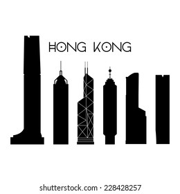 a set of black silhouettes of famous places in hong kong