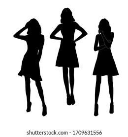 Set of black silhouettes of fashion girls in mini dress posing. Vector illustration