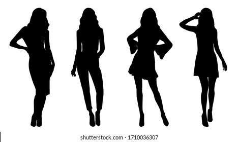Set of black silhouettes of fashion model girls in mini different type of clothes standing and posing. Vector illustration