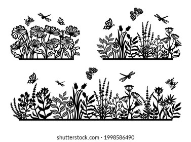 Set of black silhouettes of flower meadow. Flowerbed, field, garden with herbs, plants, leaves, chamomiles, poppies, lavender, insects, butterfly, dragonfly. Spring, summer nature themes. Vector image