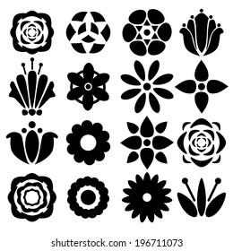 Set black silhouettes flowers isolated on a white background. Floral icons.Tattoo. Abstract design logo. Logotype art - vector
