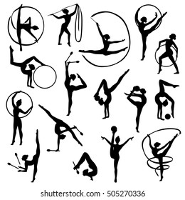 Set of black silhouettes of gymnast female figures with balls and tapes on white background isolated vector illustration