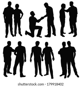 set of black silhouettes happy gay couples