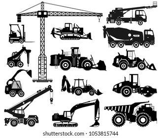 Set of black silhouettes heavy construction and mining machines in flat style on the white background. Building machinery. Special equipment. Vector illustration