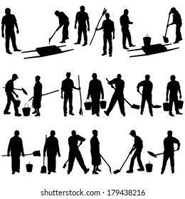 Set of black silhouettes of men and women with shovels and buckets. Vector illustration.