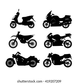 Set of black silhouettes of motorcycles on a white background. Vector illustration
